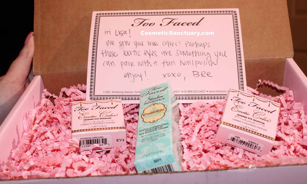 Too Faced Cosmetics Exotic Color Eyeshadow & Shadow Insurance Candlelight Swatches and Reviews