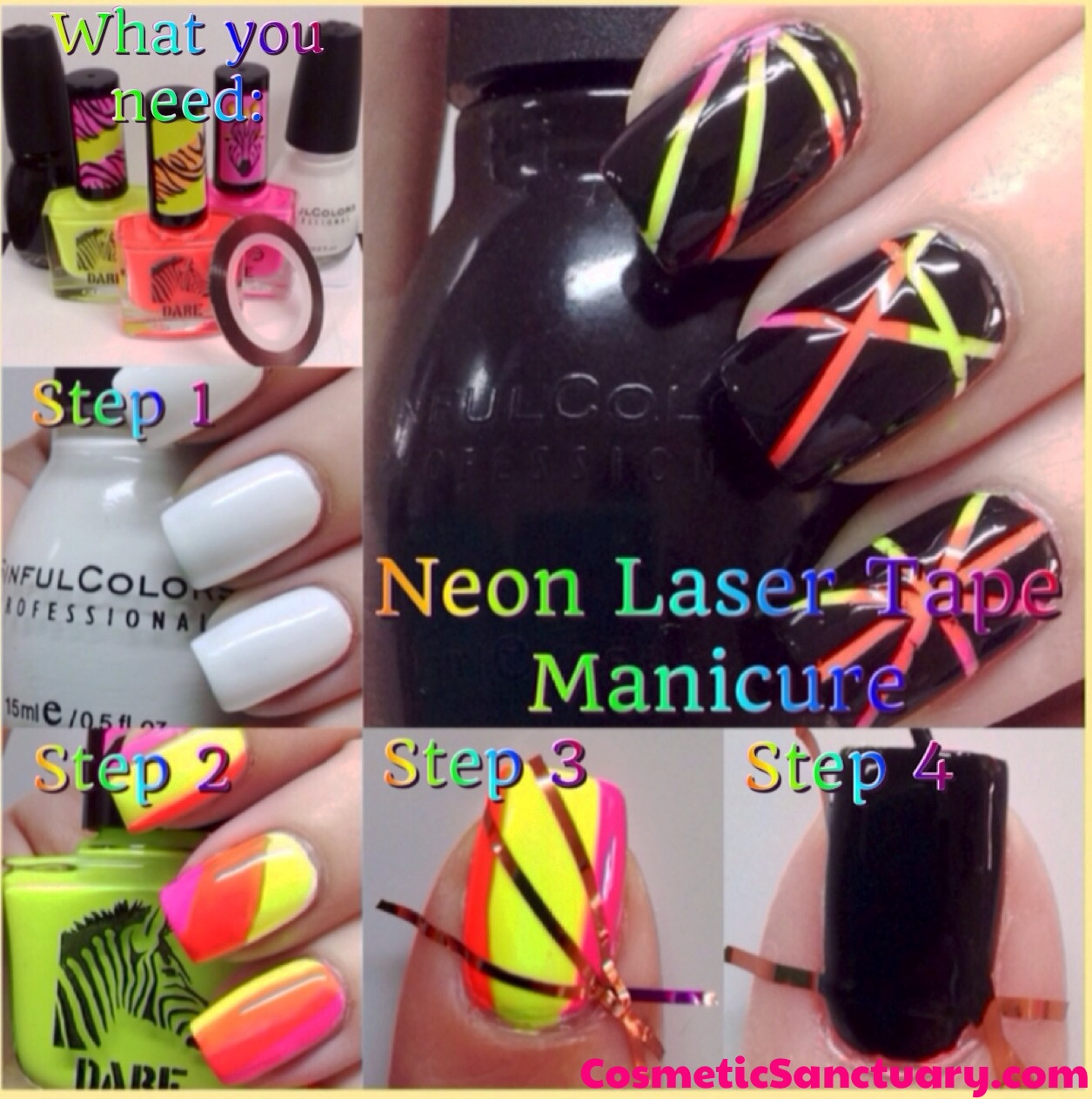 Nail Striping Tape Walmart: Neon Laser Tape Manicure Tutorial