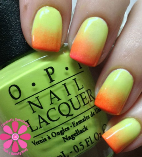OPI Life Gave Me Lemons & Down To The Core-al Summer Gradient