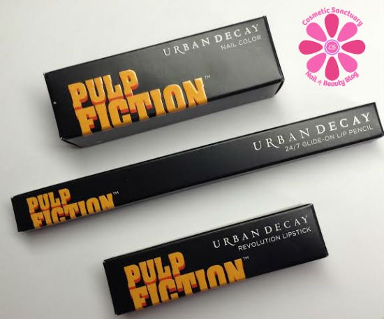 Urban Decay Pulp Fiction Mrs. Mia Wallace Lipstick, Lip Pencil and Nail Color Swatches & Review