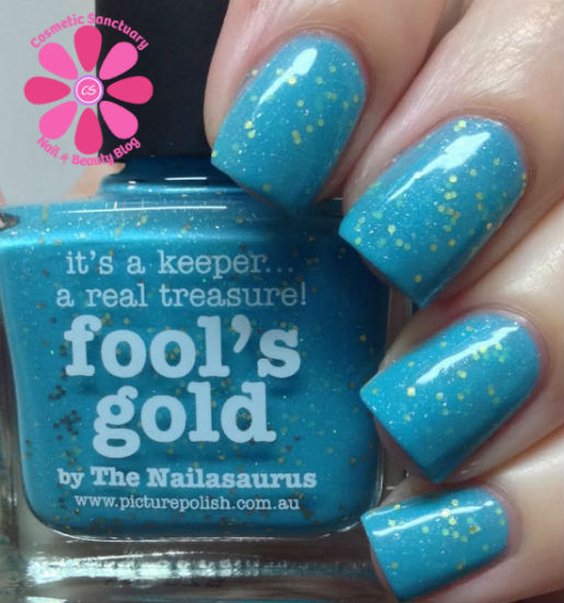 PICTURE POLISH FOOL'S GOLD BY THE NAILASAURUS SWATCHES & REVIEW