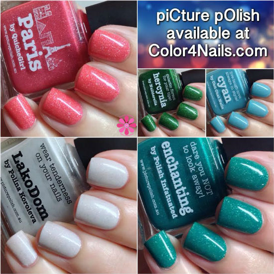 piCture pOlish Blogger Collaboration Shades Enchanting, Cyan, Hercynia, LakoDom & Paris Swatches & Review