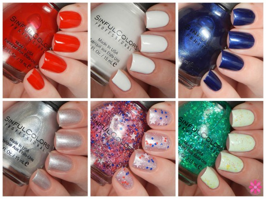SinfulColors Having A Blast Collection for 4th of July 2015 Swatches & Review